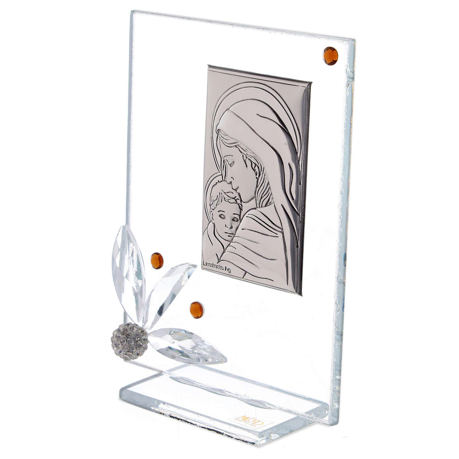Quadretto nascita vetro con strass ambrati 3