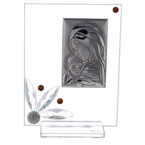Quadretto nascita vetro con strass ambrati 1