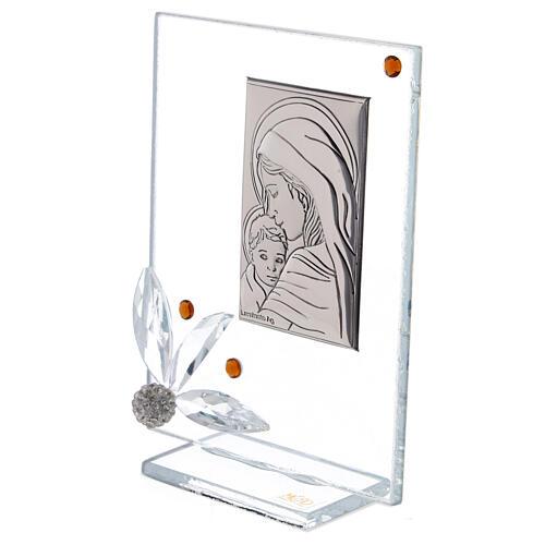 Quadretto nascita vetro con strass ambrati 2