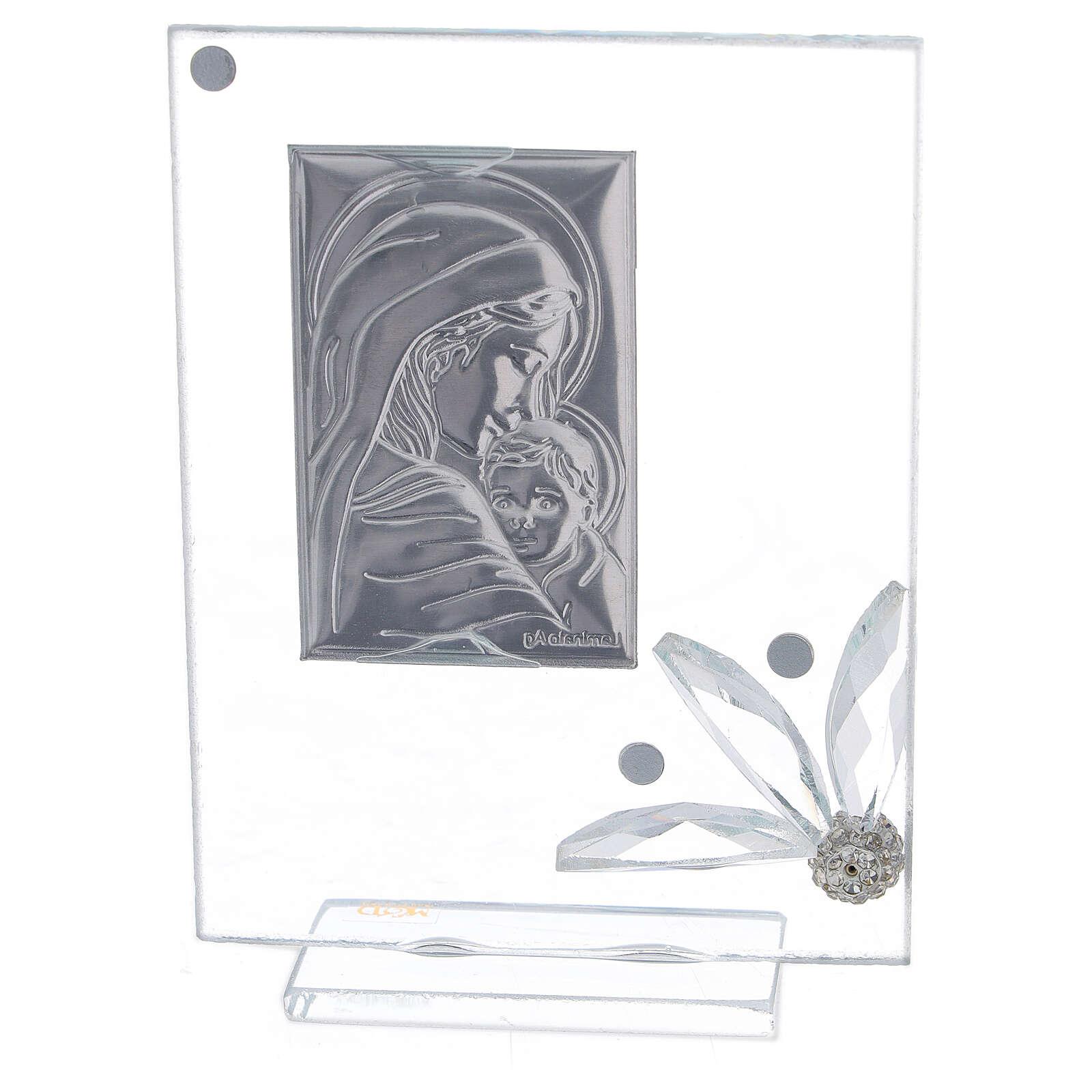 Quadretto vetro nascita con strass 3