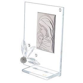 Quadretto vetro nascita con strass s2