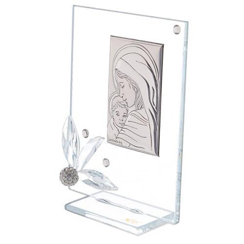 Quadretto vetro nascita con strass 2