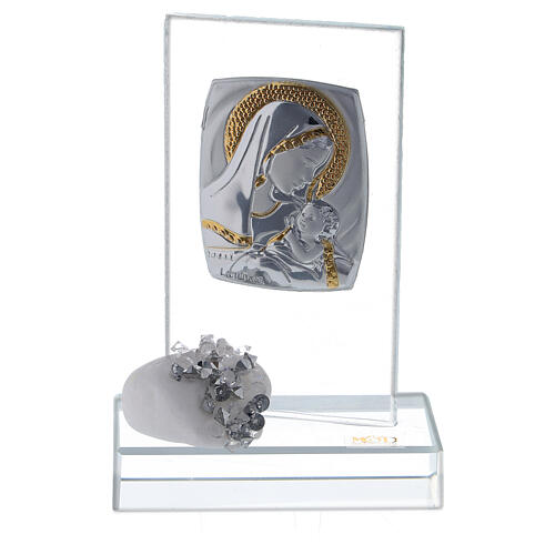 Bomboniera nascita vetro con strass 1