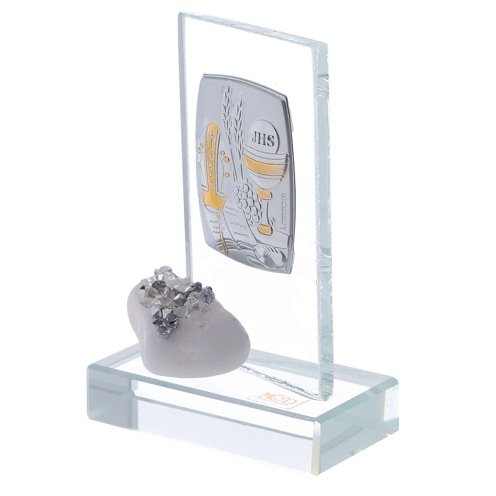 Recuerdo Confirmación piedra de mármol y cuentas strass 3