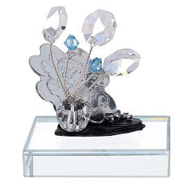 Recuerdo Bautismo con angelito vidrio azul s3
