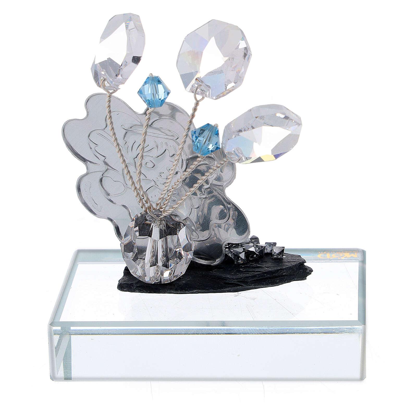 Bomboniera Battesimo con angioletto vetro azzurro 3