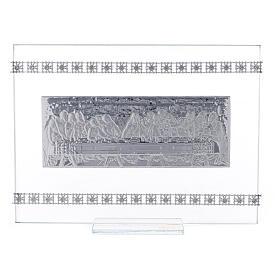 Cuadrito rectangular Última Cena con cuentas strass s1