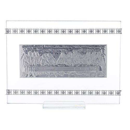 Cuadrito rectangular Última Cena con cuentas strass 1