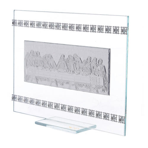 Cuadrito rectangular Última Cena con cuentas strass 2