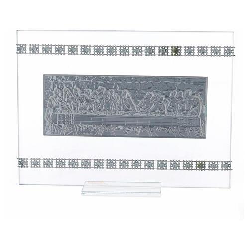 Cuadrito rectangular Última Cena con cuentas strass 3