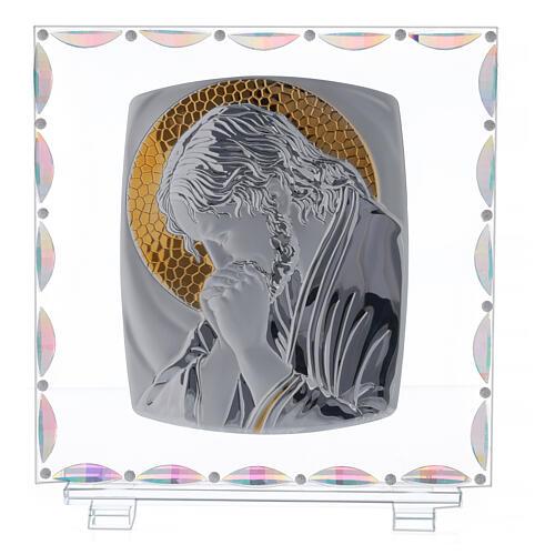 Cuadro vidrio Cristo aureola dorada 1
