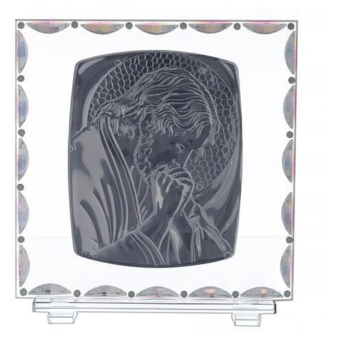 Cuadro vidrio Cristo aureola dorada 3