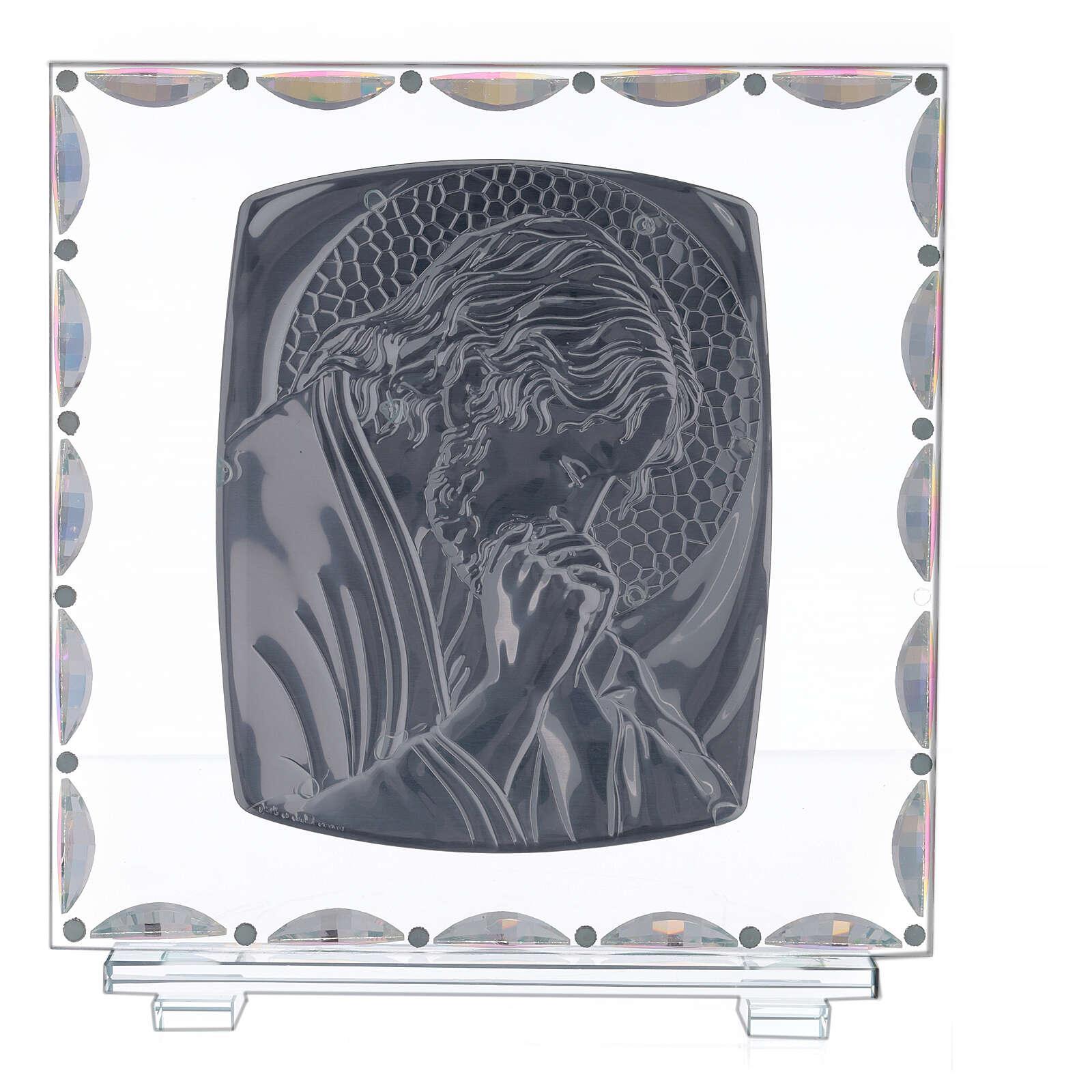 Cadre verre Christ auréole dorée 3