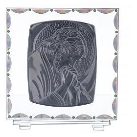 Cadre verre Christ auréole dorée s3