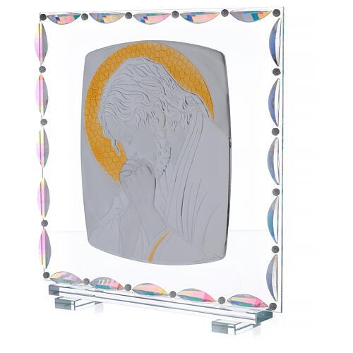 Cadre verre Christ auréole dorée 2
