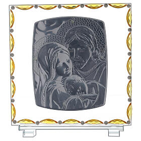 Glass picture with Holy Family and crystal decorations s3