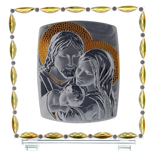 Glass picture with Holy Family and crystal decorations 1