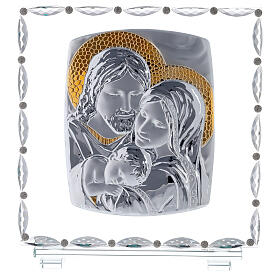Glass picture with Holy Family and crystal decorations s1