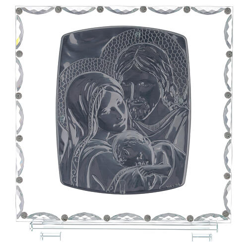 Glass picture with Holy Family and crystal decorations 3