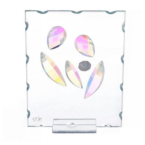 Quadretto vetro Sacra Famiglia stilizzata  3