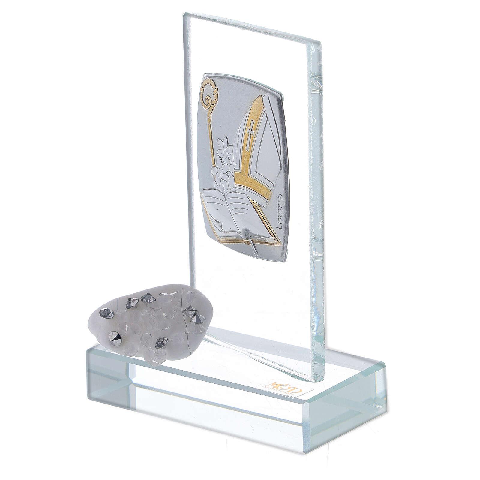 Bomboniera simboli Cresima in vetro 3