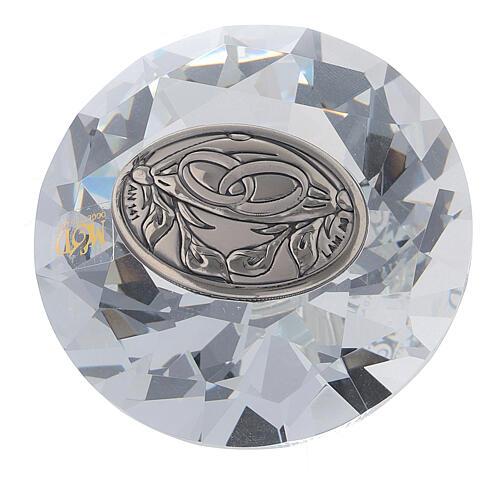 Lembrancinha casamento vidro forma diamante 1