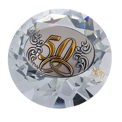 Diamant verre noces d'or souvenir 1