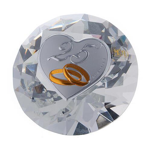 Diamante vidrio recuerdo bodas de plata 1