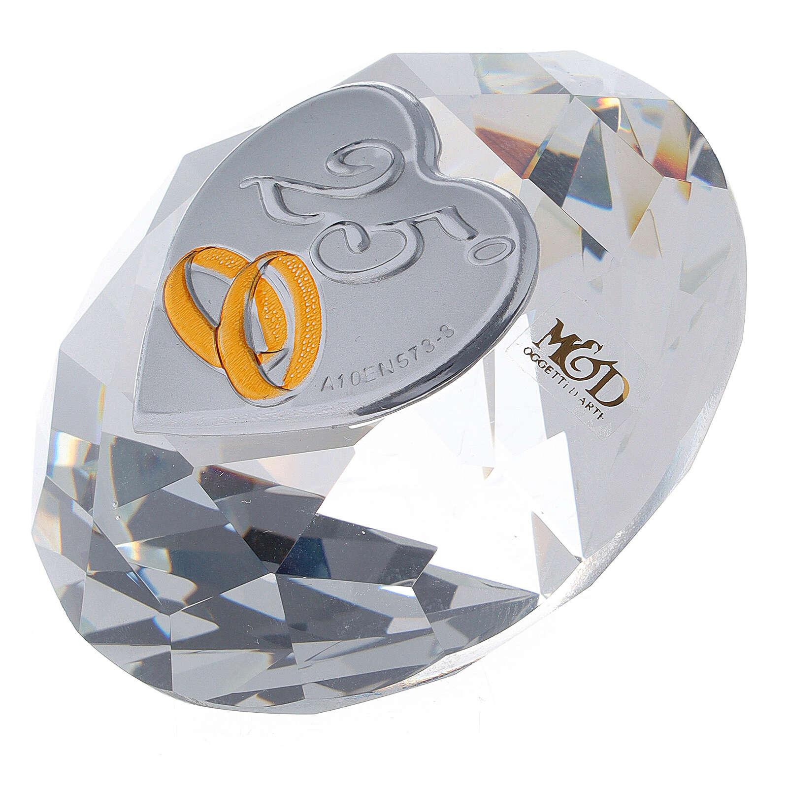 Diamante vetro bomboniera nozze d'argento 3