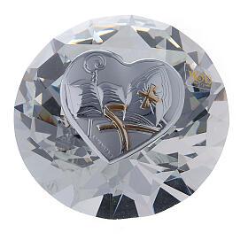 Recuerdo en forma de diamante Confirmación con mitra s1