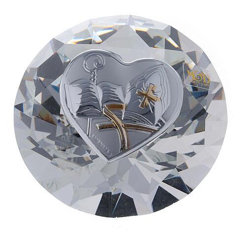 Bomboniera a diamante Cresima con mitra 1