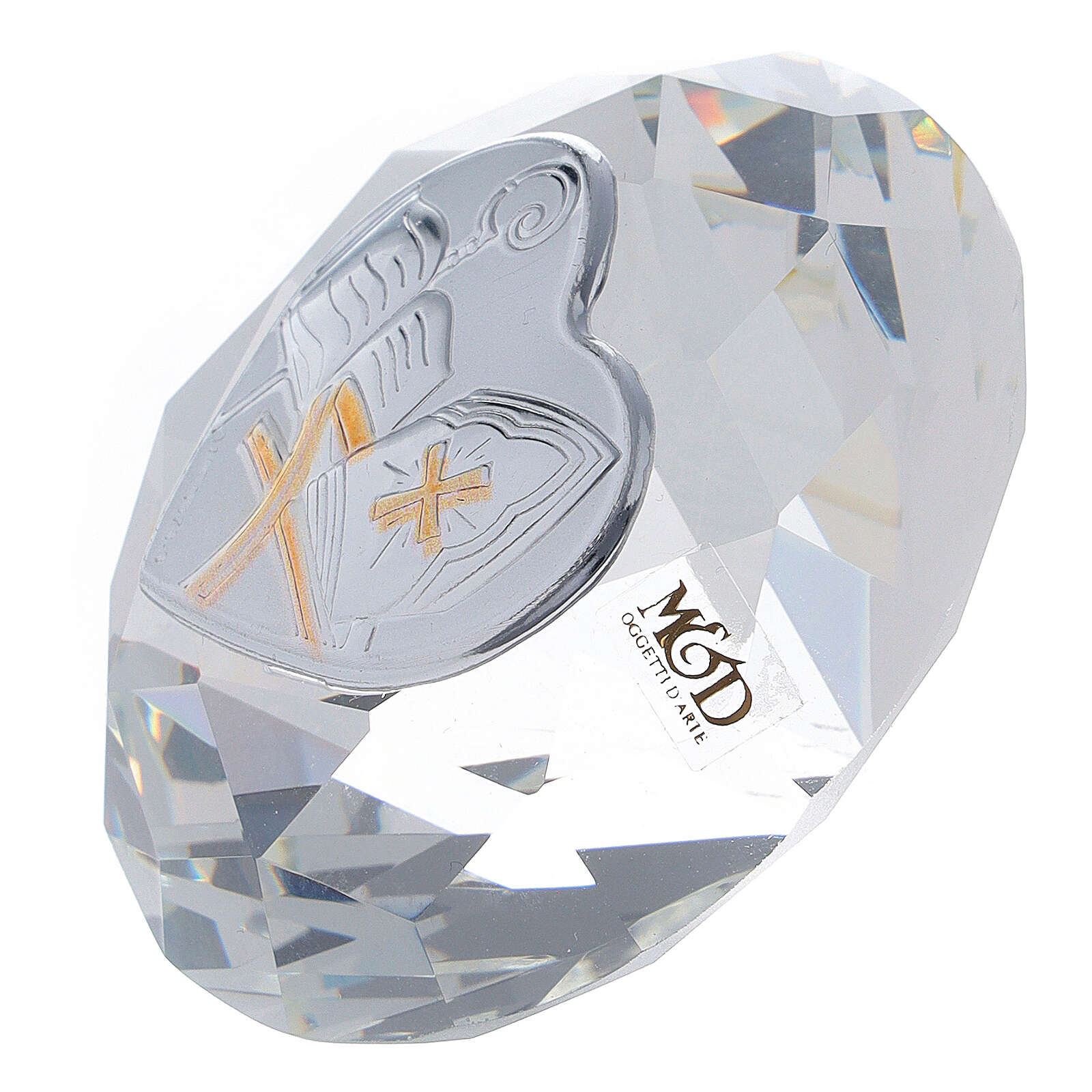 Diamond shaped favor Confirmation with mitre 3