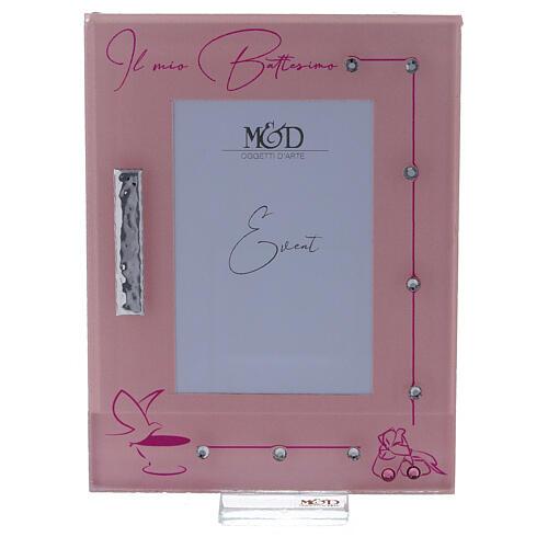 Portarretrato marco rosa Bautismo niña 1