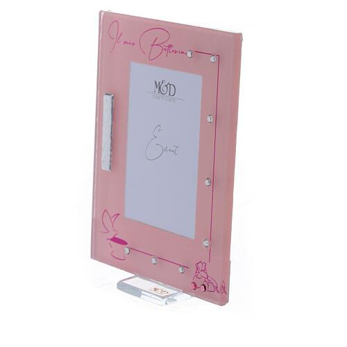 Portarretrato marco rosa Bautismo niña 2