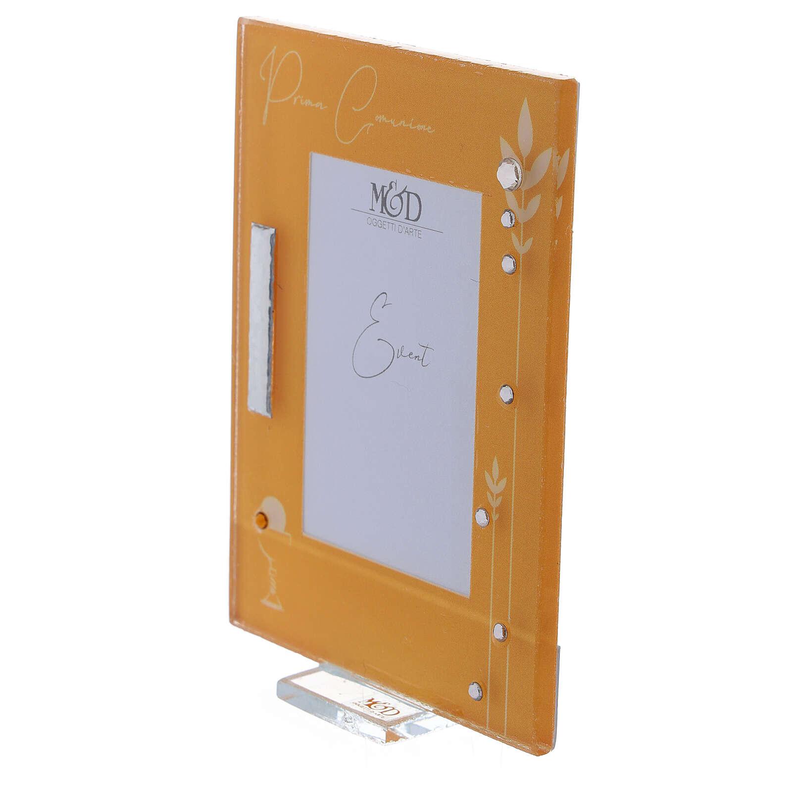 Portarretrato Comunión marco amarillo cuentas strass 3