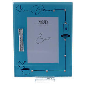 Picture frame Baptism light blue frame with rhinestones s1