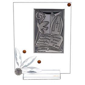 Quadretto vetro placca simboli Cresima s1