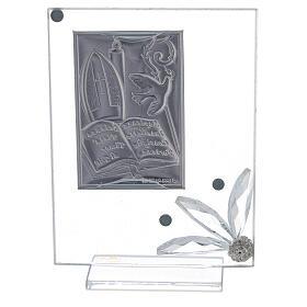 Quadretto vetro placca simboli Cresima s3