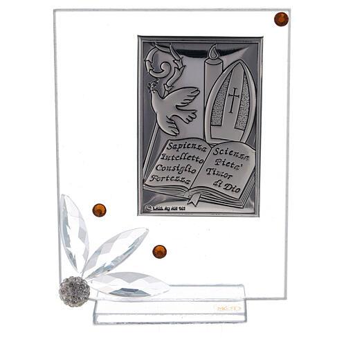 Quadretto vetro placca simboli Cresima 1