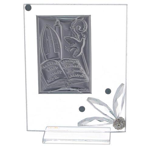 Quadretto vetro placca simboli Cresima 3