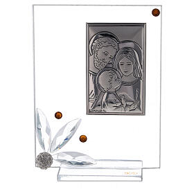 Cuadrito vidrio con Sagrada Familia recuerdo s1