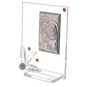 Cuadrito vidrio con Sagrada Familia recuerdo s2