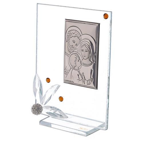 Cuadrito vidrio con Sagrada Familia recuerdo 2