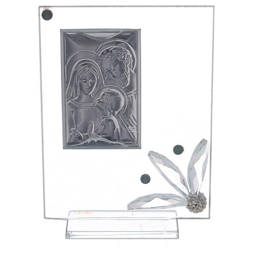 Cuadrito vidrio con Sagrada Familia recuerdo 3
