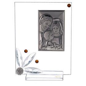 Quadretto vetro con Sacra Famiglia bomboniera s1