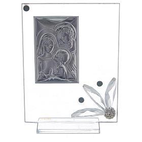 Quadretto vetro con Sacra Famiglia bomboniera s3