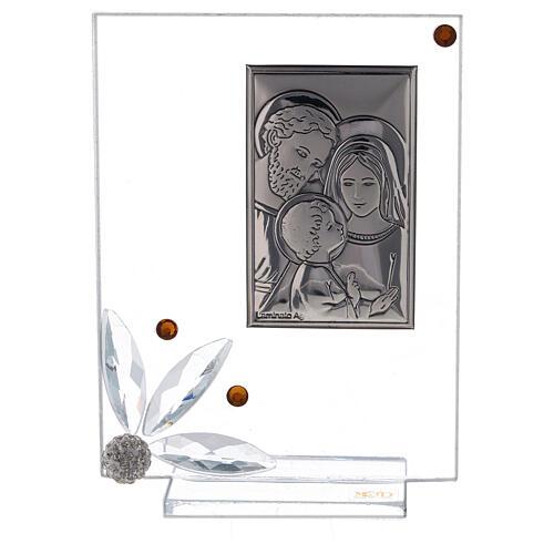 Quadretto vetro con Sacra Famiglia bomboniera 1