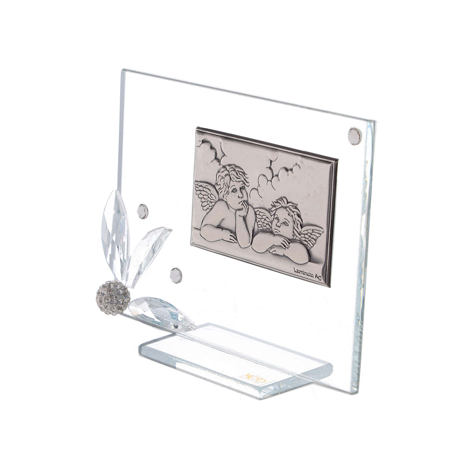 Recuerdo cuadrito vidrio ángeles 3
