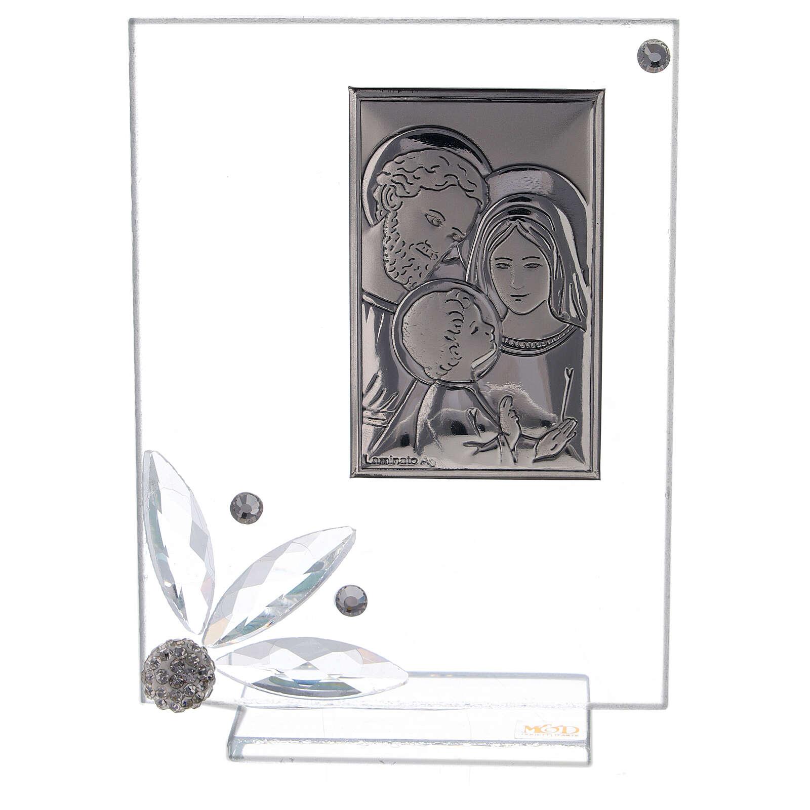Quadretto bomboniera Sacra Famiglia vetro 3