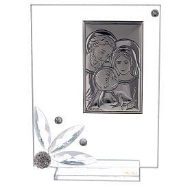 Quadretto bomboniera Sacra Famiglia vetro s1